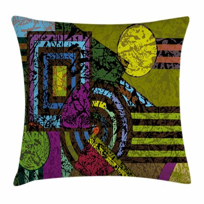 Abstract Grunge Murky Trippy Square Pillow Cover Size: 18 x 18