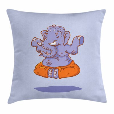 Yoga Cartoon Elephant Figure Square Pillow Cover Size: 16 x 16