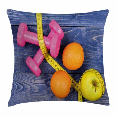 Fitness Dumbbells Fruits Tape Square Pillow Cover Size: 18 x 18