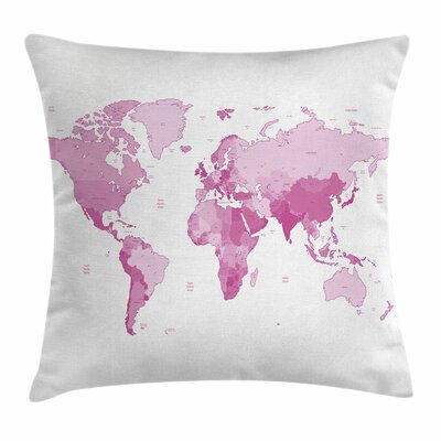 World Map Continents Square Pillow Cover Size: 16 x 16