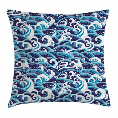 Japanese Wave Water Splash Foam Square Pillow Cover Size: 24 x 24