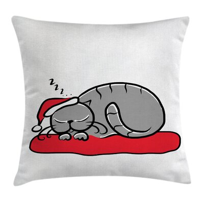 Christmas Cat with Santa Hat Square Pillow Cover Size: 18 x 18