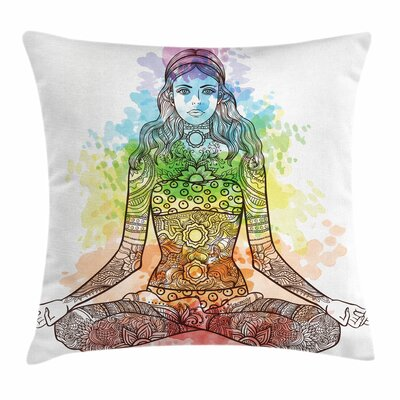 Yoga Ornate Woman Figure Aura Square Pillow Cover Size: 18 x 18