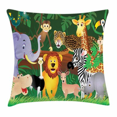 Zoo Exotic Jungle Cheerful Fun Square Pillow Cover Size: 18 x 18