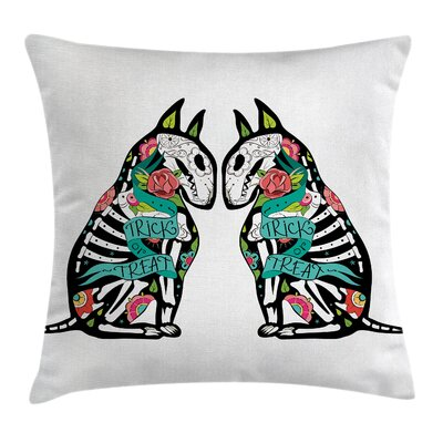 Abstract Art Skeleton Demon Square Pillow Cover Size: 18 x 18