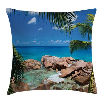 Palm Tree Coastline Square Pillow Cover Size: 24 x 24
