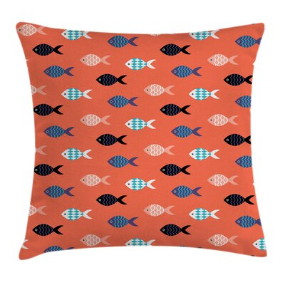 Colorful Fish Shoal Square Pillow Cover Size: 16