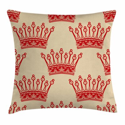 Vintage Crown Pattern Square Pillow Cover Size: 18 x 18