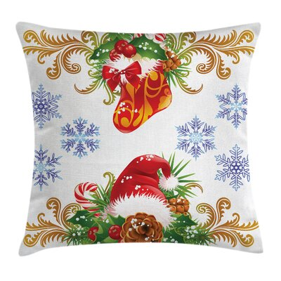 Christmas Stocking Santa Hat Square Pillow Cover Size: 18