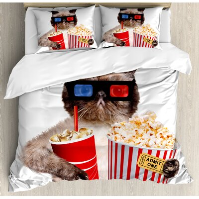 Movie Theatre Cat with Popcorn and Drink Watching Movie Glasses Entertainment Cinema Duvet Set ETHE2454 44282788