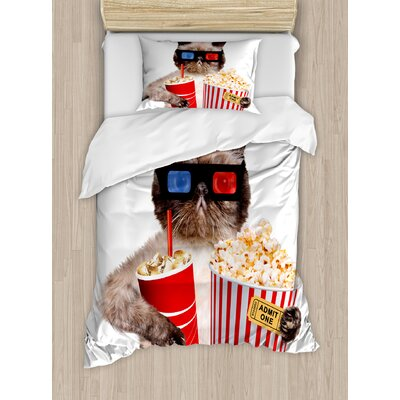 Movie Theatre Cat with Popcorn and Drink Watching Movie Glasses Entertainment Cinema Duvet Set ETHE2454 44282789