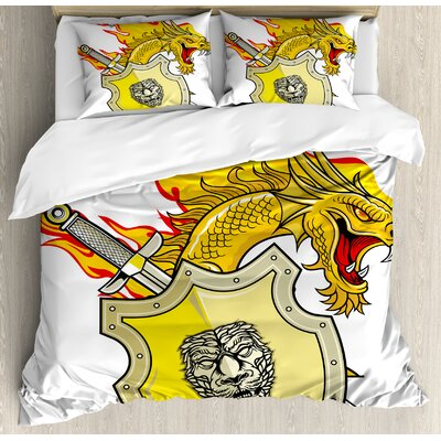 Dragon Legendary Creature with Royal Shield Sword Hero Knight Medieval Print Duvet Set ESUN7856 44265207