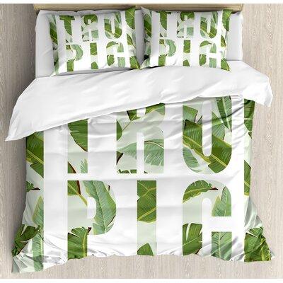 Perennial Shrubs Evergreen Exotic Dreamy Palm Leaves Romance Plants Illustration Duvet Set nev_28807_king