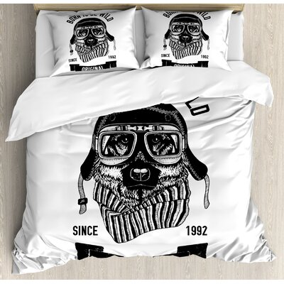 Modern Born to be Wild Quote with A Cool Dog Motorcycle Helmet Puppy Rider Animal Graphic Duvet Set nev_28888_king