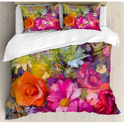 Floral Vibrant Flower Bouquet with Daisy Peony Gerbera Petals Romantic Arrangement Print Duvet Set nev_32676_queen