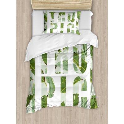 Perennial Shrubs Evergreen Exotic Dreamy Palm Leaves Romance Plants Illustration Duvet Set nev_28807_twin