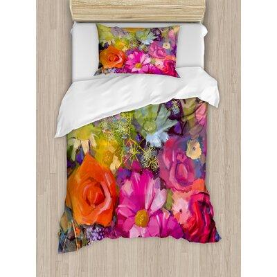 Floral Vibrant Flower Bouquet with Daisy Peony Gerbera Petals Romantic Arrangement Print Duvet Set nev_32676_twin