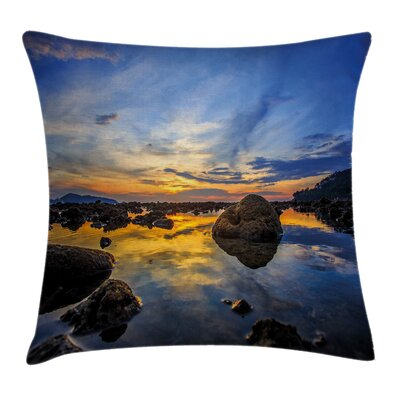 Coastal Twilight Rocky Shore Pillow Cover Size: 24 x 24