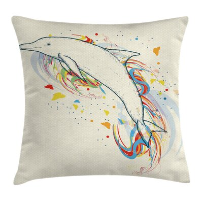 Dolphin Cute Fish Rainbow Color Pillow Cover Size: 18 x 18