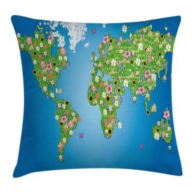 Map Daisy Lily Grass Botanical Pillow Cover Size: 16 x 16