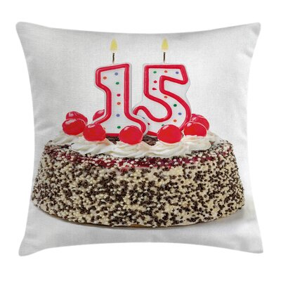 Birthday Cherry Cake Candles Square Pillow Cover Size: 18 x 18