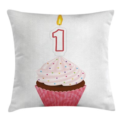 Birthday Pastry Cupcake Party Square Pillow Cover Size: 16 x 16