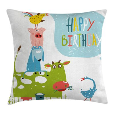 Country Decor Animals Greeting Square Pillow Cover Size: 16 x 16