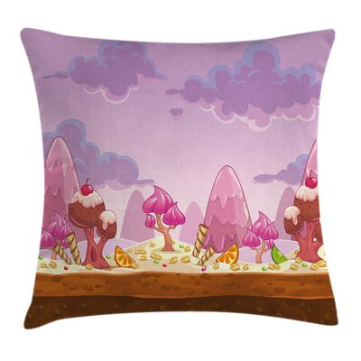 Colorful Cartoon Candy Land Pillow Cover Size: 18 x 18