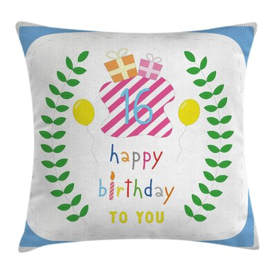 Cute Balloons Branches Square Pillow Cover Size: 16 x 16