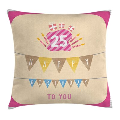 Cute Flags Frame Square Pillow Cover Size: 16 x 16