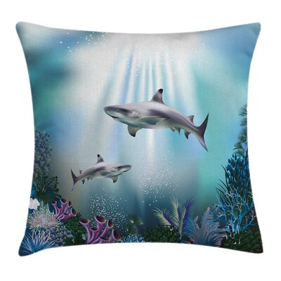 Underwater Sharks Coral Aquatic Pillow Cover Size: 16 x 16