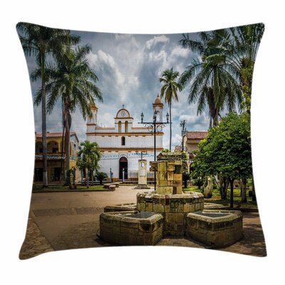 Travel Decor Mayan Town Palms Square Pillow Cover Size: 18 x 18