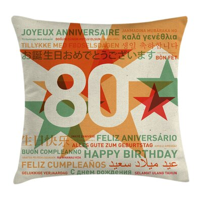 Party World Happy Birthday Wish Square Pillow Cover Size: 16 x 16