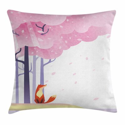Fox Spring Sakura Idyllic Square Pillow Cover Size: 16 x 16