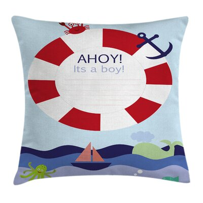 Cartoon Its a Boy Maritime Sea Square Pillow Cover Size: 24 x 24