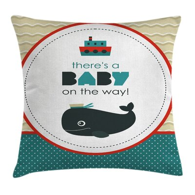 Dolphin Baby on the Way Cartoon Square Pillow Cover Size: 16 x 16