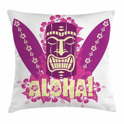 Tiki Bar Decor Aloha Surfboards Square Pillow Cover Size: 20 x 20