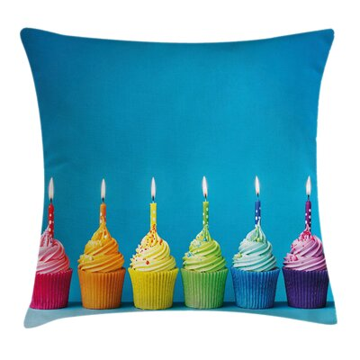 Rainbow Cupcakes Party Food Square Pillow Cover Size: 16 x 16