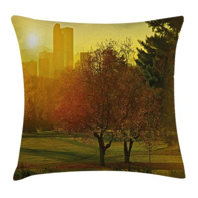 Nature Sunset over City Park Pillow Cover Size: 16 x 16