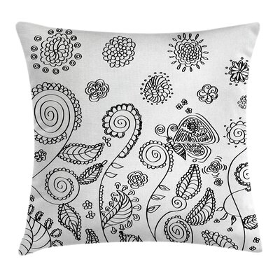 Rustic Doodle Swirled Flowers Pillow Cover Size: 20 x 20