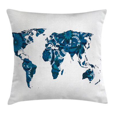 Flower Lilac Covered Continents Pillow Cover Size: 16