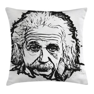 Sketch Albert Einstein Portrait Pillow Cover Size: 18 x 18