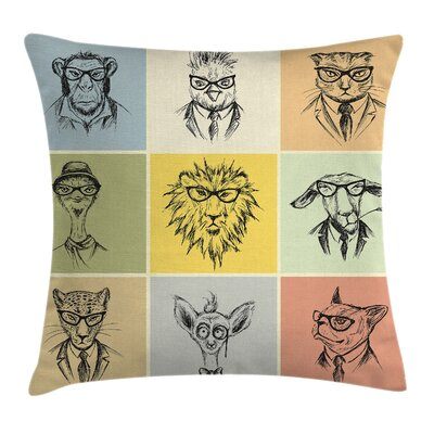 Animal Hipster Monkey Camel Cat Pillow Cover Size: 24 x 24