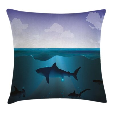 Underwater Wild Sharks Pillow Cover Size: 16 x 16