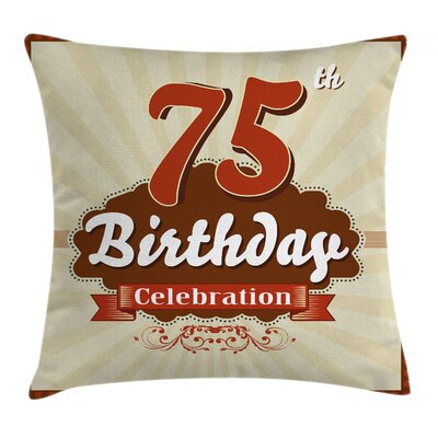 Retro Celebration Banner Number Square Pillow Cover Size: 20 x 20