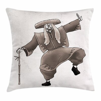 Kabuki Mask Orient Artist Pose Square Pillow Cover Size: 18 x 18