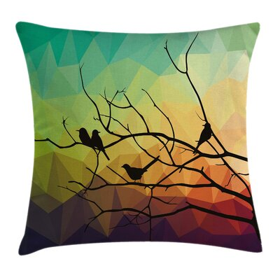 Modern Abstract Bird and Branch Pillow Cover Size: 24 x 24