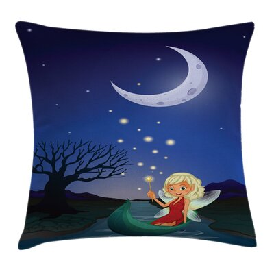 Fairy Elf Pixie Sitting on Boat Pillow Cover Size: 18 x 18