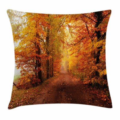 Fall Decor Footpath Foggy Woods Square Pillow Cover Size: 20