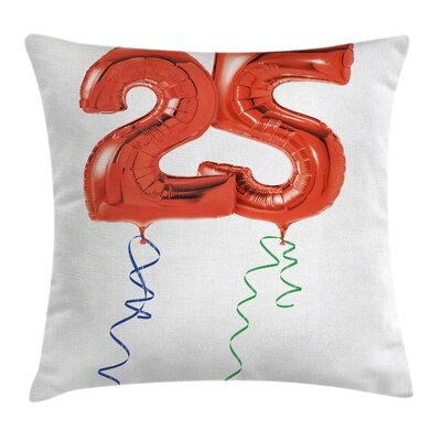 Party Vivid Balloons in Square Pillow Cover Size: 16 x 16